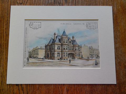 US Post Office, Lexington, Kentucky, 1886, Hand Colored, Original Plan