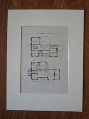 John R. Flippin House Plan, Memphis, TN, Jones & Furbringer, 1919, Lithograph