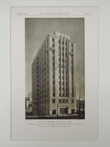 Architects' Building, Los Angeles, CA, 1928, Lithograph