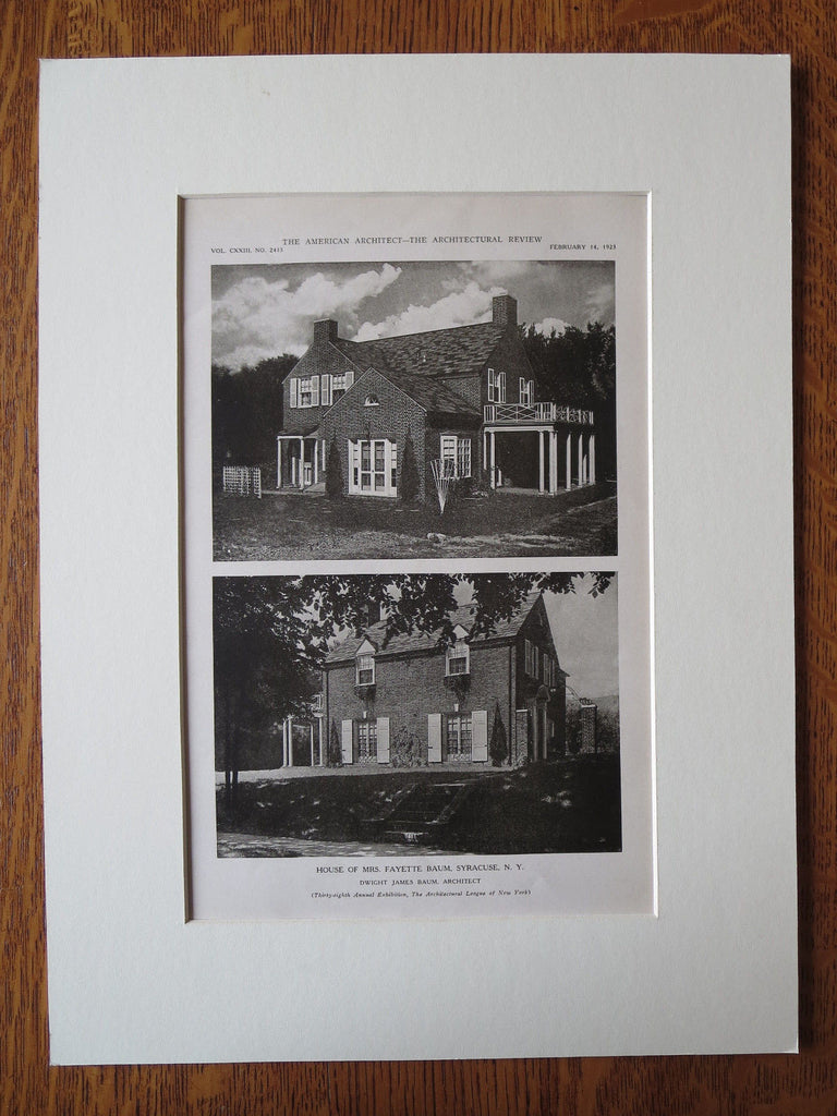 Mrs. Fayette Baum House, Syracuse, NY, Dwight James Baum, 1923, Lithograph