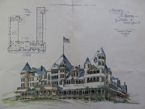 Hotel, Seattle, WA, 1890, Youngs & Cable, Original Plan, Hand Colored