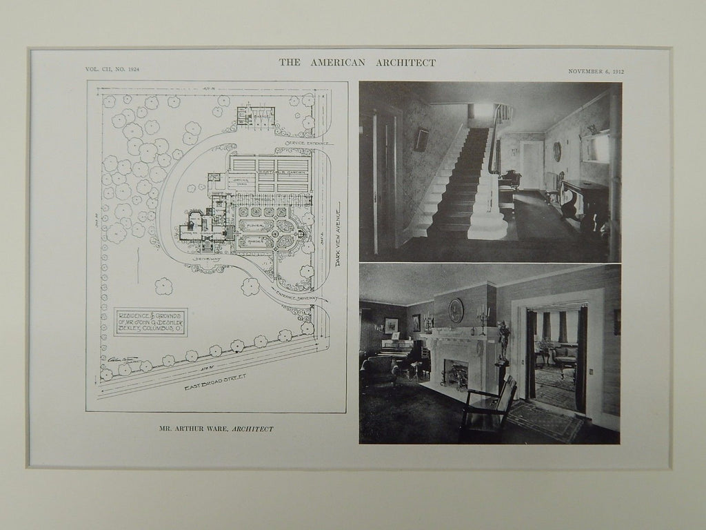 Residence and Grounds of John G. Deshler, Bexley, OH, 1912, Lithograph