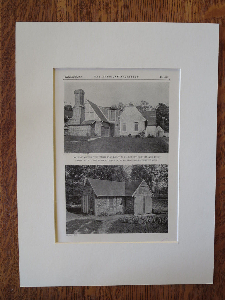 Victor Paul Smith House, High Point, NC, Robert Cottom, Arch., 1928, Lithograph
