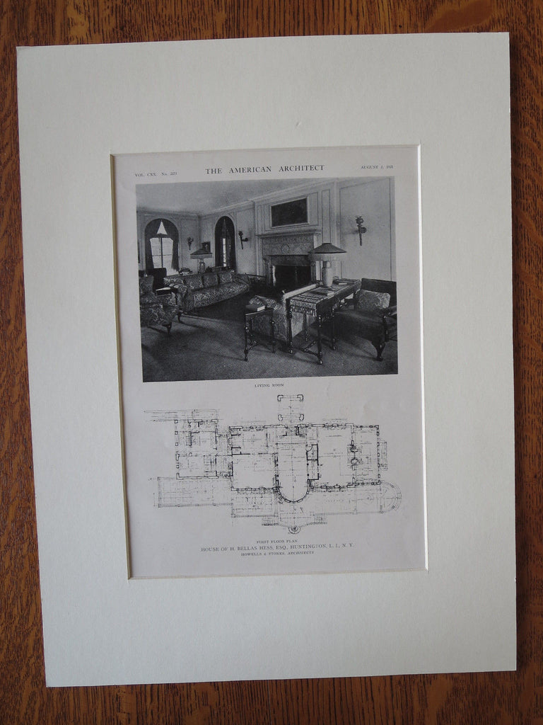 H Bellas Hess House, Interior, Huntington, NY, Howells/Stokes, 1921, Lithograph