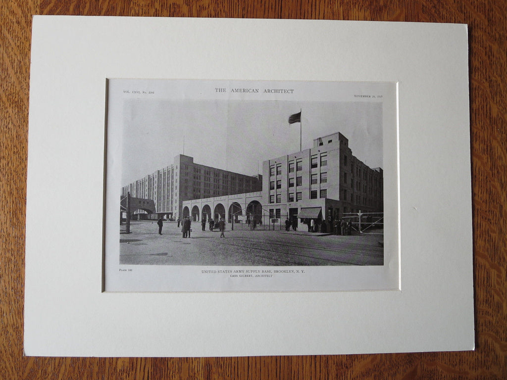 US Army Supply Base, Entrance, Brooklyn, NY, Cass Gilbert, 1919, Lithograph