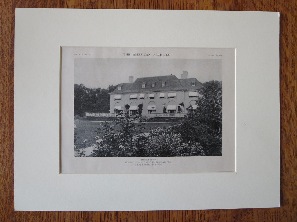 G.S. Gaylord House, Terrace Front, Neenah, WI, Childs & Smith, 1921, Lithograph