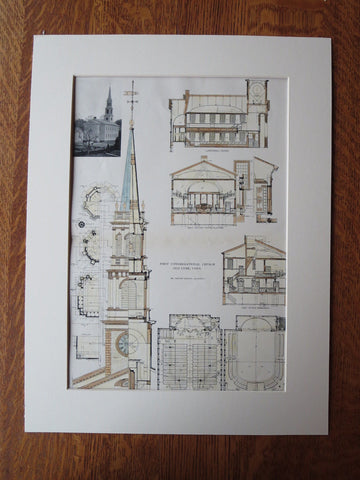 First Congregational Church, Old Lyme, CT, Original Plan. Ernest Greene