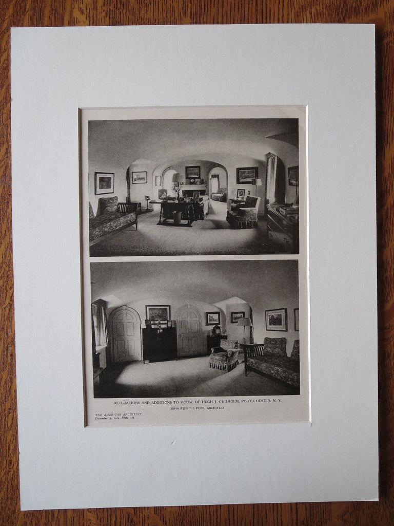 Hugh J. Chisholm House, Interior, Port Chester, NY, J.R Pope, 1924, Lithograph