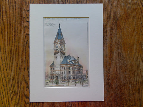 Court House, Clarion County, PA, 1886, Hand Colored, Original Plan