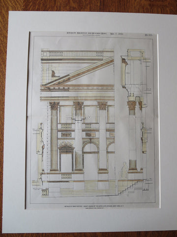 Appellate Division, Court House, New York, NY, 1900, Original Plan Hand Colored
