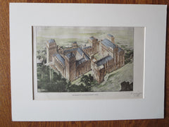 Palace of the Popes, Avignon, France, 1903. Original Plan Hand Colored