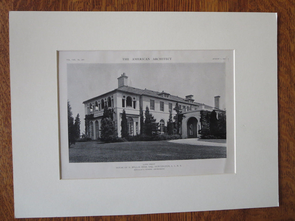 H Bellas Hess House, Exterior, Huntington, NY, Howells/Stokes, 1921, Lithograph
