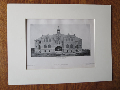 High School, Marlin, Texas, Glenn Allen, Archt., 1905, Lithograph