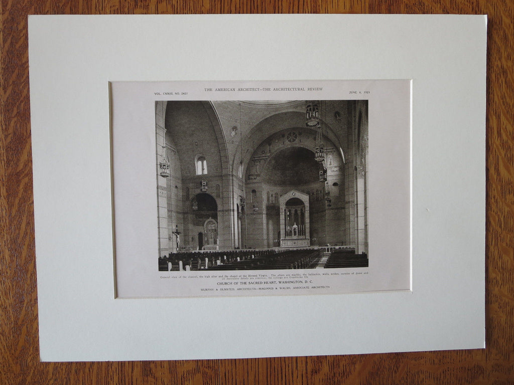 Church/Sacred Heart, Chancel, Washington DC, Murphy & Olmsted, 1923, Lithograph