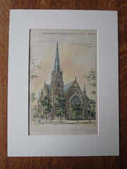 Broad Street M.E. Church, Columbus, OH, 1887, Original Plan. J.W. Yost, Arch