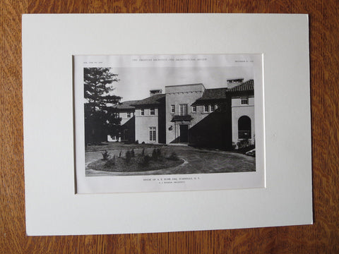 A.E. Burr House, Scardale, NY, A.J. Bodker, Archt., 1921, Lithograph