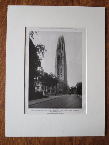 Harkness Memorial Tower, Yale, New Haven, CT, J G Rogers, 1921, Lithograph