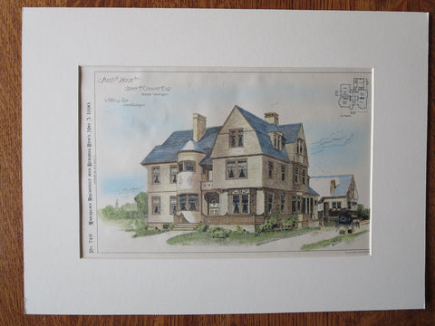 John Conant House, Seattle, WA, 1890. W. Skillings, Original Plan Hand Colored