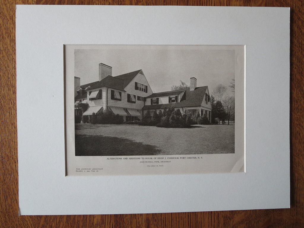 Hugh J. Chisholm House, Exterior, Port Chester, NY, J.R Pope, 1924, Lithograph