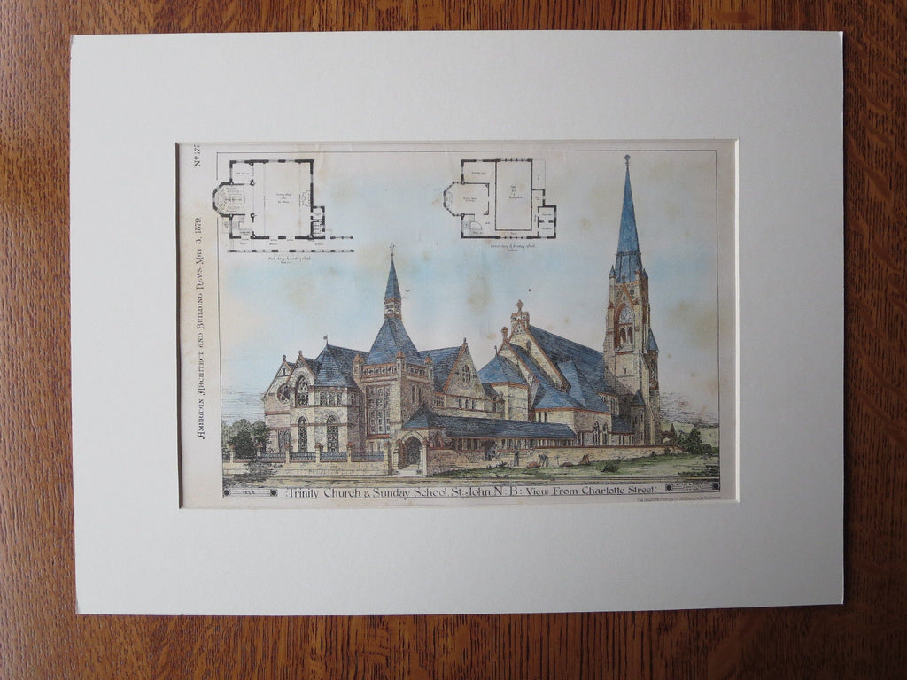 Trinity Church, St John, New Brunswick, 1879, Original Plan. Potter & Robertson