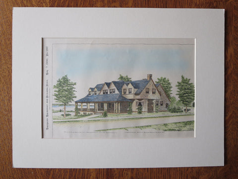 David Francis House, Jamestown, RI, 1900, C Withers. Original Plan Hand Colored