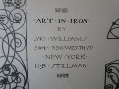 Art in Iron, Jno. Williams, 544-556 West 27th Street, New York, 1892, lithograph