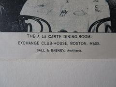 Exchange Club-House, Dining Room, Boston, MA, Ball & Dabney, 1895, Lithograph
