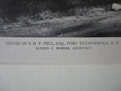 S.H.P. Pell, Esq. House, Fort Ticonderoga, NY, Alfred Bossom, 1921, Lithograph