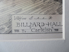 Billiard Hall, Interior, 1881, Original Plan. Carleton, Architect