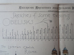 Sketches of Obelisks, 1881, Original Plan