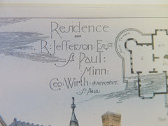 Residence for R Jefferson, St Paul, MN, 1884, George Wirth, Archt, Original Plan