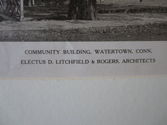 Community Building, Watertown, CT, Litchfield & Rogers, 1921, Lithograph