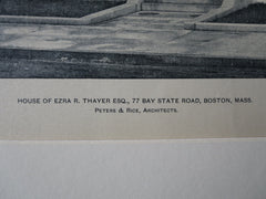 Ezra R Thayer House, 77 Bay State Rd, Boston, MA, Peters & Rice,1903, lithograph