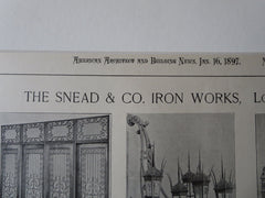 Snead & Co. Iron Works, Louisville, KY, American Architect, 1897, lithograph