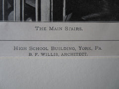 High School Building, York, PA, B.F. Willis, 1900, Lithograph