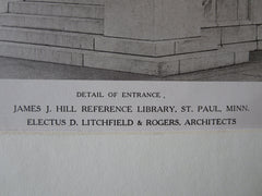 James J Hill Library, Entrance, St Paul, MN, Litchfield/Rogers, 1921, Lithograph