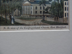Miniature, Congregational Church, East Hartford, CT, 1836 Hand Colored, Original