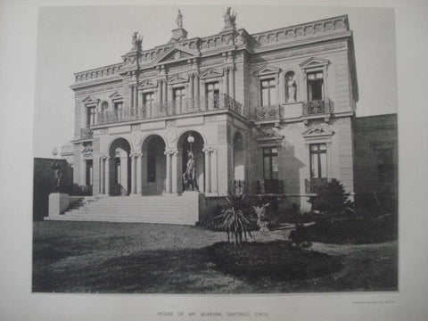 Exterior: House of Mr. McKenna, Santiago, Chile, 1890. Gelatine