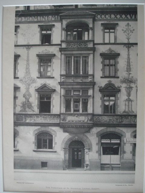 Parsonage of St. Nicholas, Leipsic, Saxony, 1897. Hugo Light. Gelatine