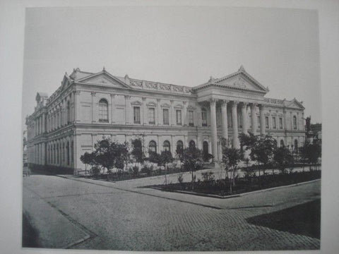 Congress Hall and Chamber of Deputies in Santiago, Chile, 1890. Gelatine