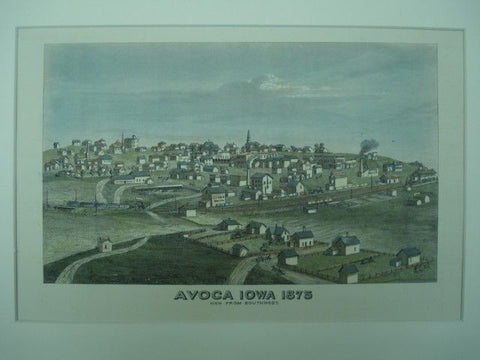 Scene of Avoca, Iowa. Andreus Atlas, 1875. Original