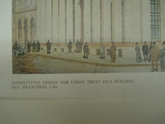 Design for Union Trust Co.'s Building in San Francisco CA, 1909. Bliss & Faville. Original Plan