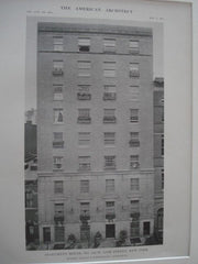 Apartment House, No. 126 W. 55th St., New York NY, 1915. Wallis & Goodwillie. Lithograph