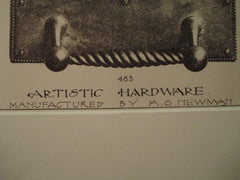 Artistic Hardware, 1889. Manufactured by A. G. Newman. Lithograph
