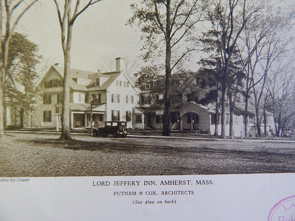 Lord Jeffery Inn, Amherst, MA, 1928, Lithograph, Putnam & Cox