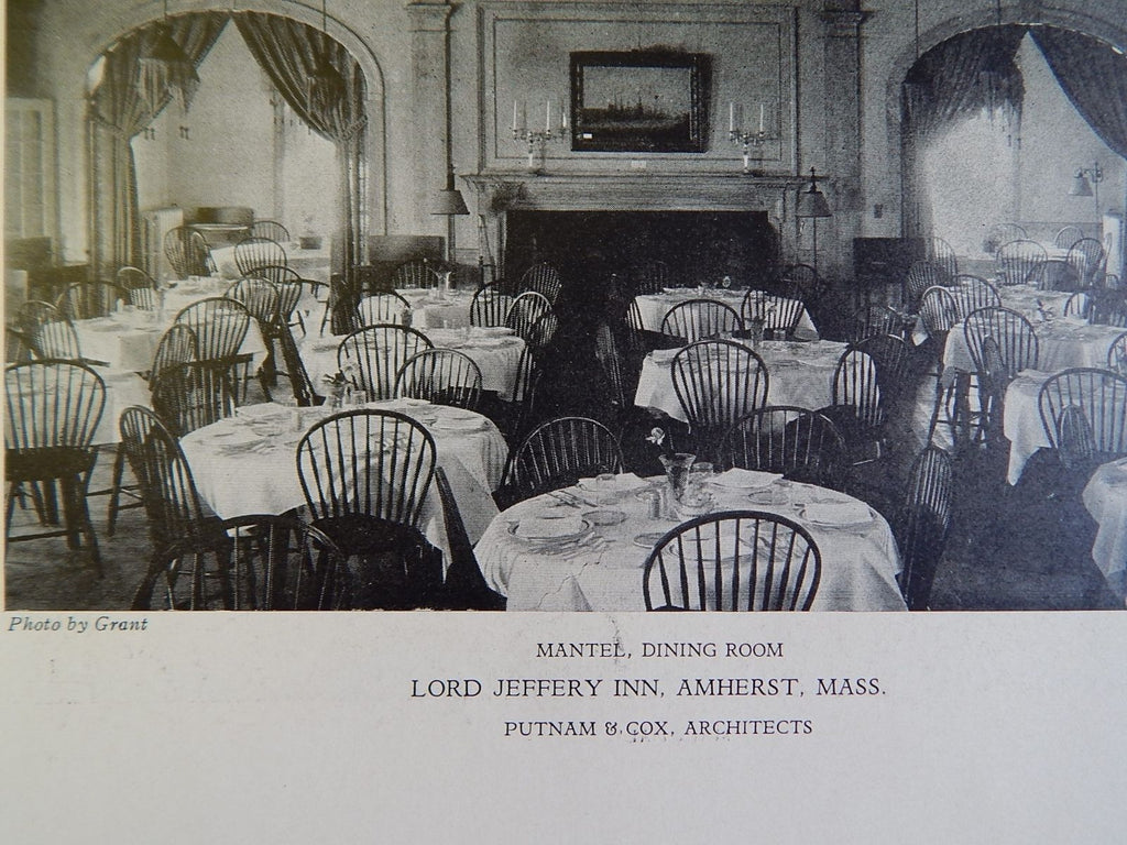 Dining Room, Lord Jeffery Inn, Amherst, MA, 1928, Lithograph, Putnam & Cox