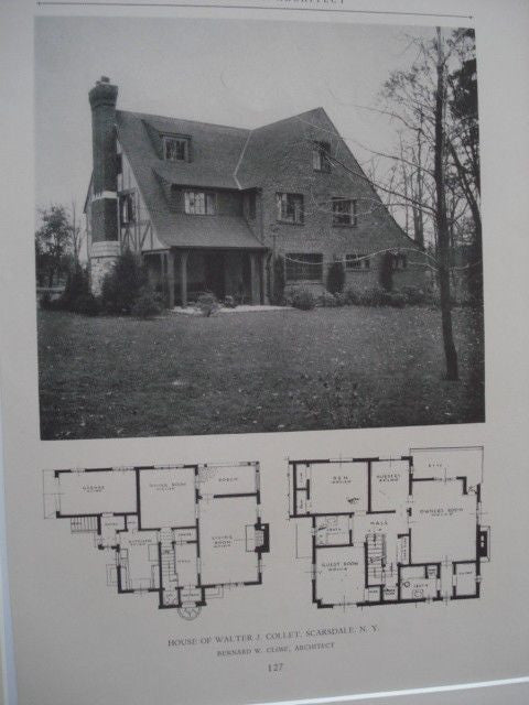 House of Walter J. Collet, Scarsdale NY, 1927. Bernard W. Close. Lithograph