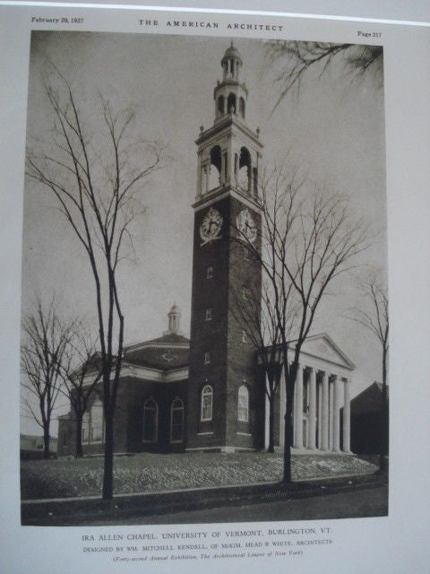 IRA Allen Chapel: University of Vermont, Burlington VT, 1927. Wm. Mitchell Kendall