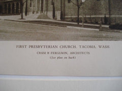 First Presbyterian Church, Tacoma WA, 1927. Cram & Ferguson. Lithograph