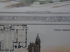 Church of the Messiah, St Louis, MO, 1880, Peabody & Stearns, Original Plan